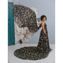 Black custom made flowy floral evening dress, pre-photoshoot gown with cape