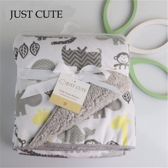 JUST CUTE 2016 new thicken double layer fleece infant swaddle bebe envelope stroller wrap for newborns baby bedding blanket