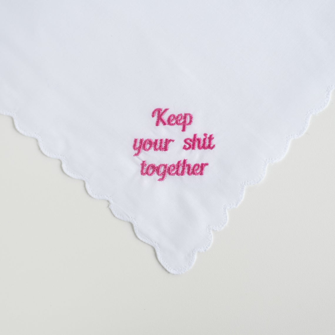 Scallop Edge Hanky Hot Pink