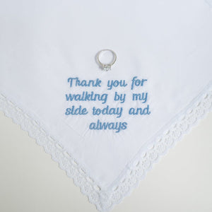 Lace Edge Hanky Baby Blue