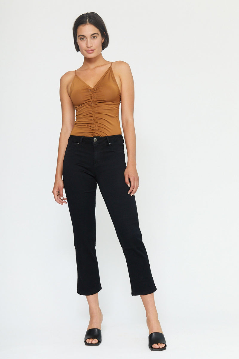 "Butter 27"" Ankle High Rise Straight Leg Jeans In Wynter Black"