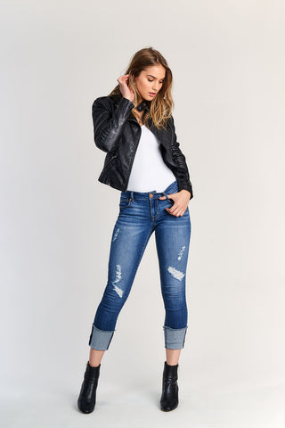 Taylor Destructed Roll Cuff Crop Jeans In Irene