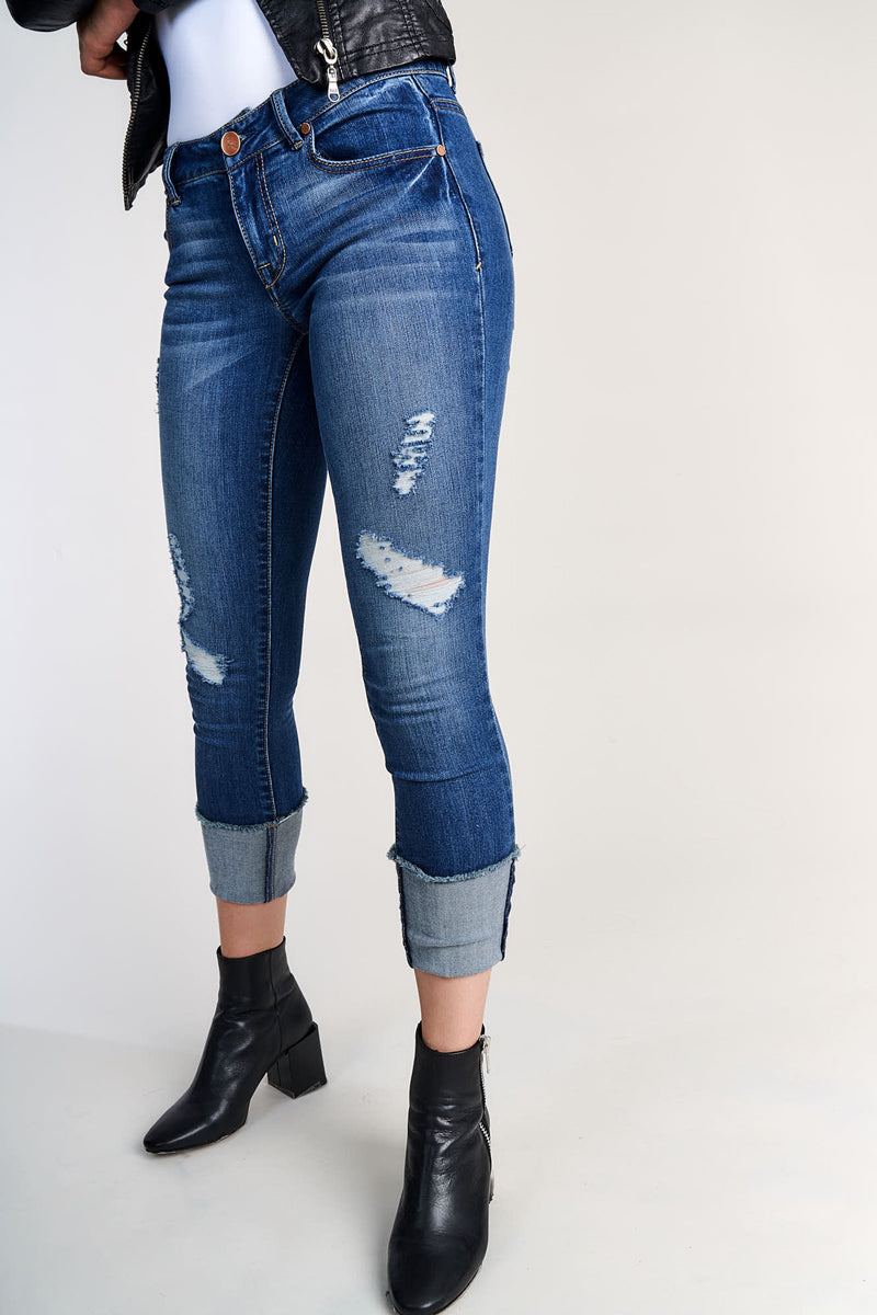 1822 Denim Taylor Destructed Roll Cuff Crop Jeans In Irene - CJ8C1207A8E