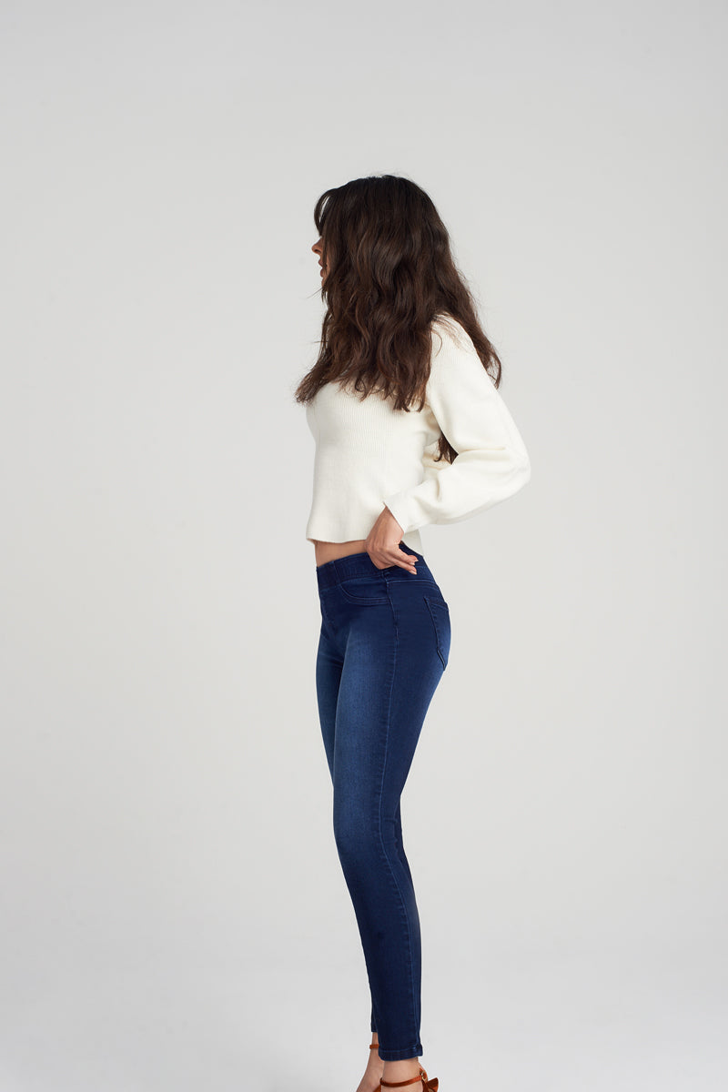 Pull On Contour Ankle Skinny Jeans In Alisha