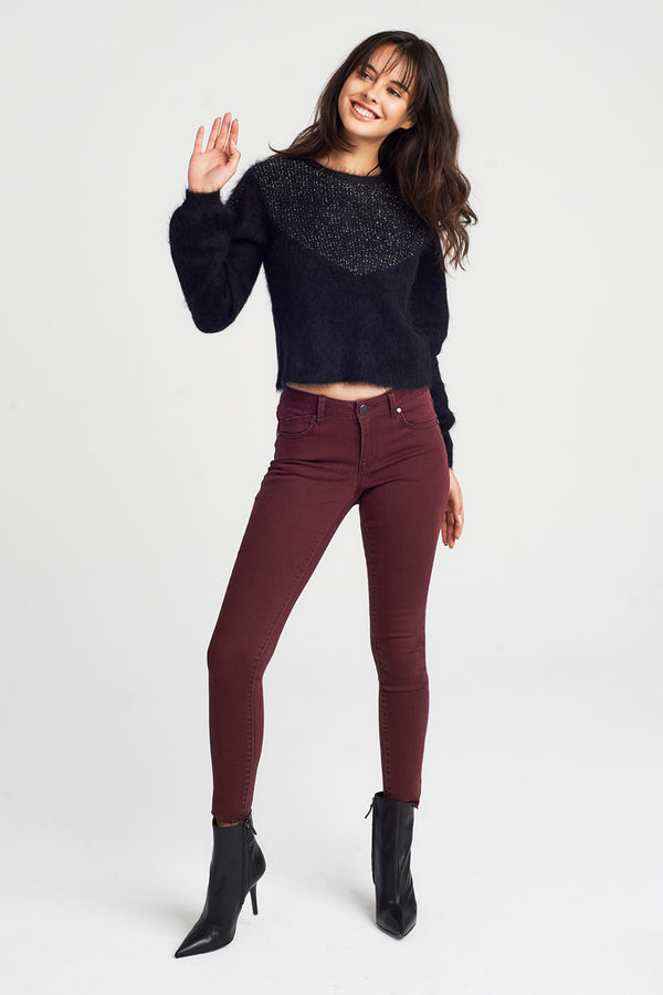 Raw Hem Ankle Skinny Jeans In Rumba Red