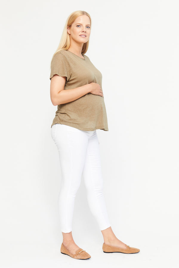 "Maternity Butter 27"" Ankle Skinny Women's Jegging With Side Panel In White"