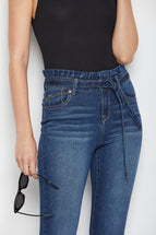 High Rise Paperbag Waist Skinny Jeans In Ziggy