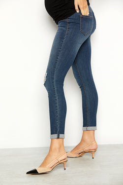 "Maternity Vintage Denim Roll Cuff 28"" Ankle Skinny Jean in Candice"