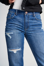Rigid Boyfriend High Rise Roll Jeans In Greg