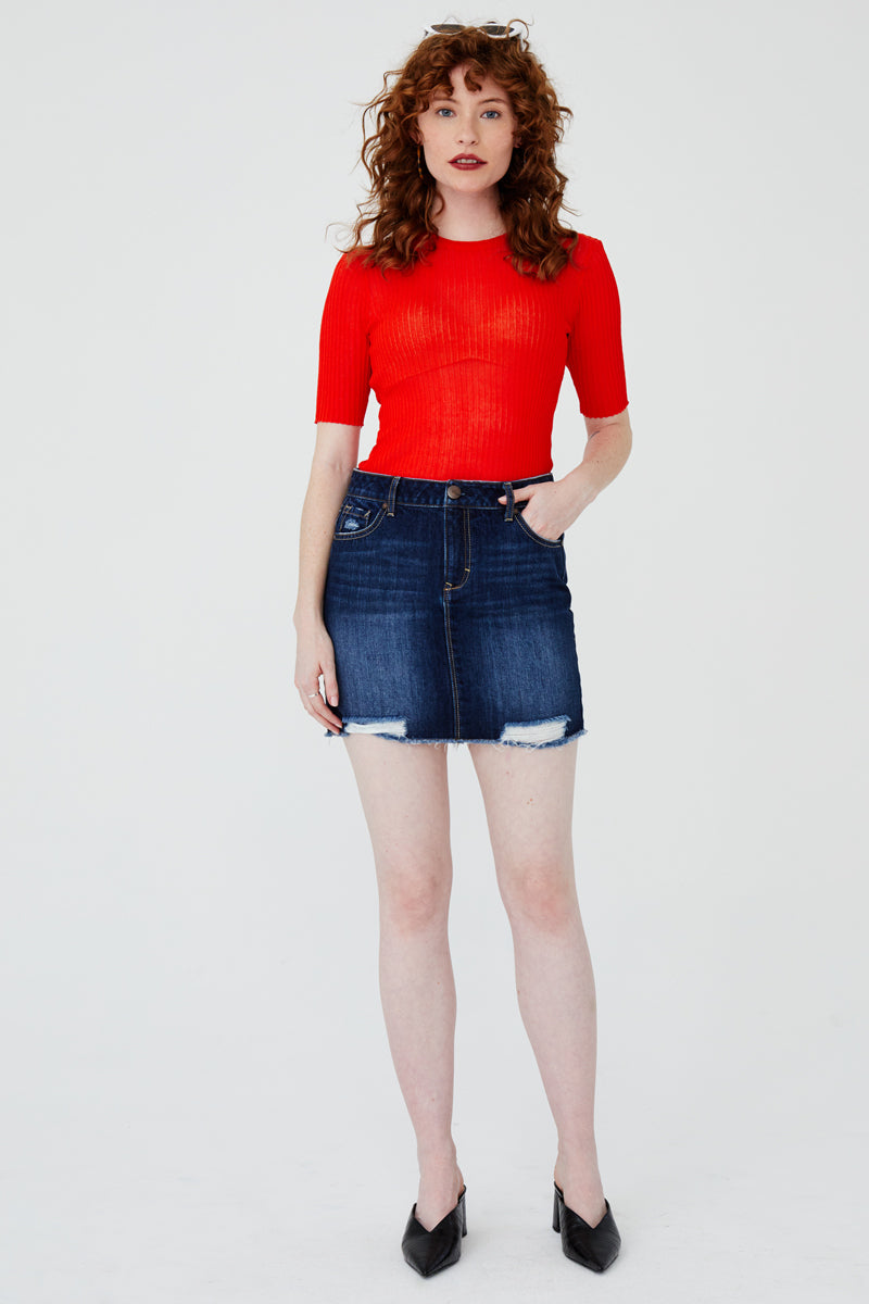 Uneven Hem Denim Skirt In Lydia