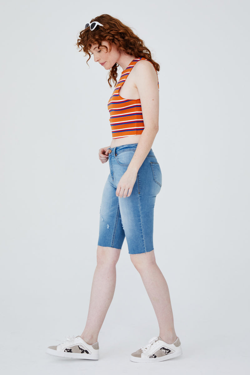 High Rise Bermuda Shorts in Gigi