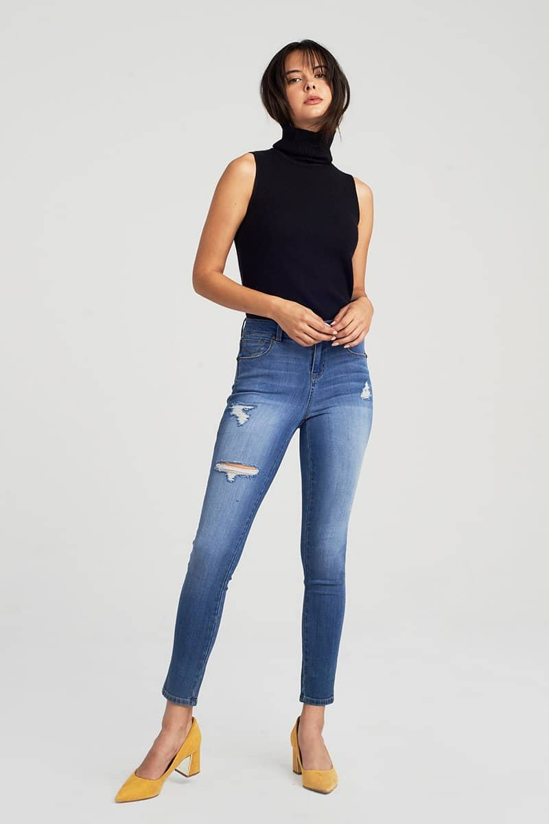 Distressed High Rise Ankle Skinny Jeans In Greg