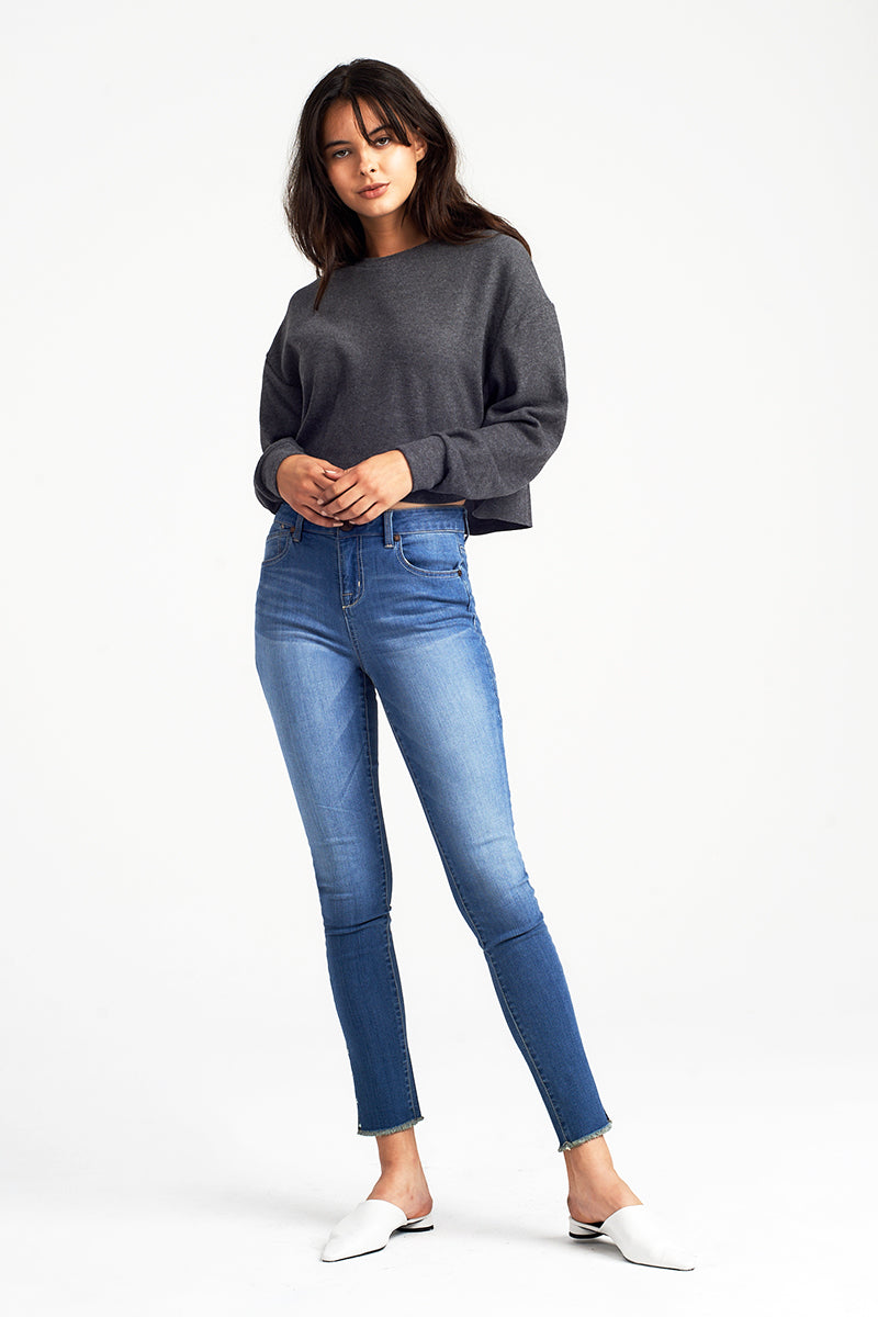 Pearl High Rise Ankle Skinny Jeans With Fray Hem