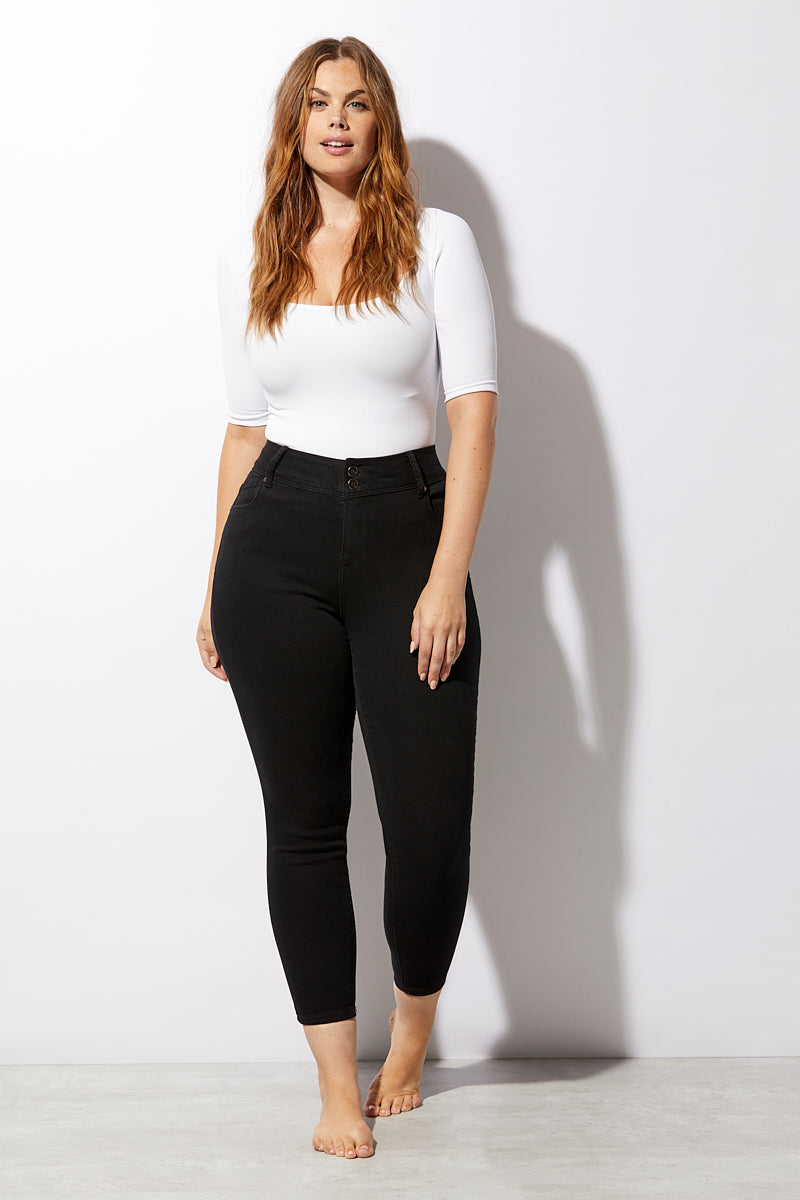 Re:Denim Plus Size Double Button Ankle Skinny Jeans In Black