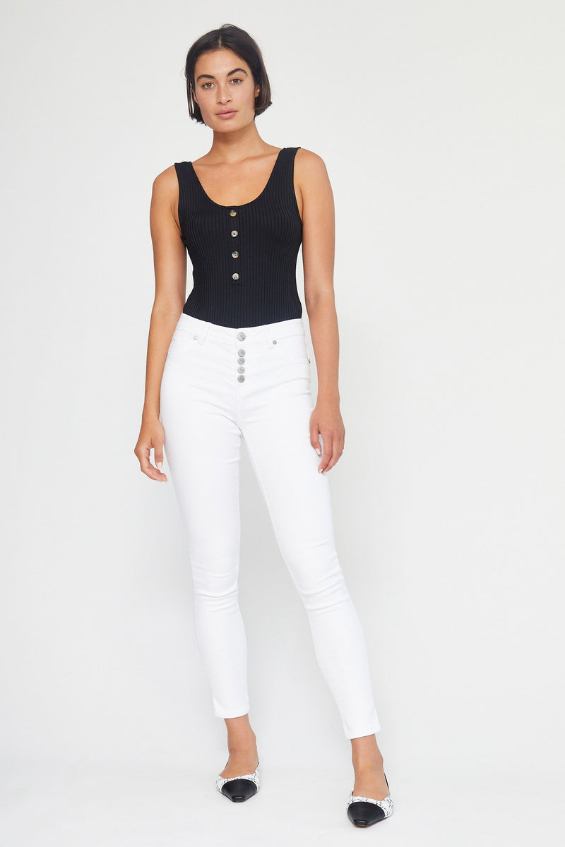 "Butter 30"" Exposed Button High Rise Skinny Jeans In Wynter White"