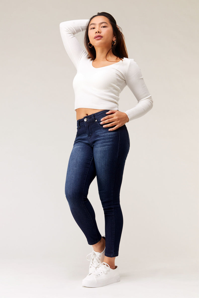 "Short RE:DENIM  26"" Ankle Skinny Mid Rise Jean In Henry"