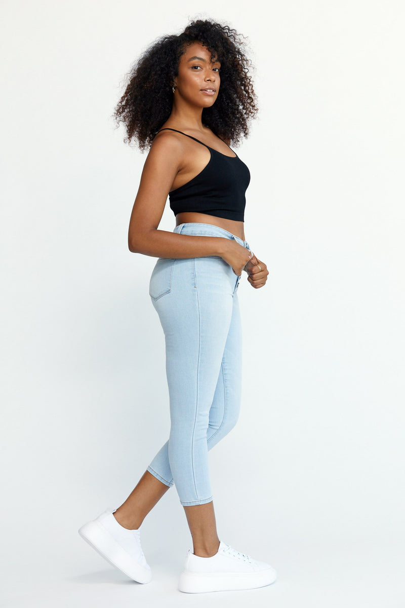 "RE: DENIM  25"" button front crop jean in Sammy"