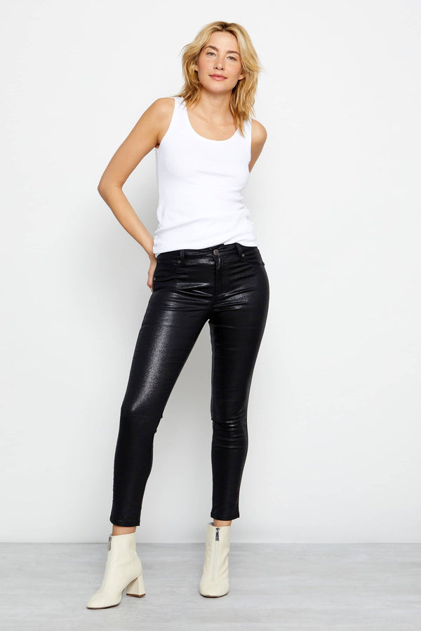 "Shimmer Coated Denim 28"" High Rise Ankle Skinny In Black"