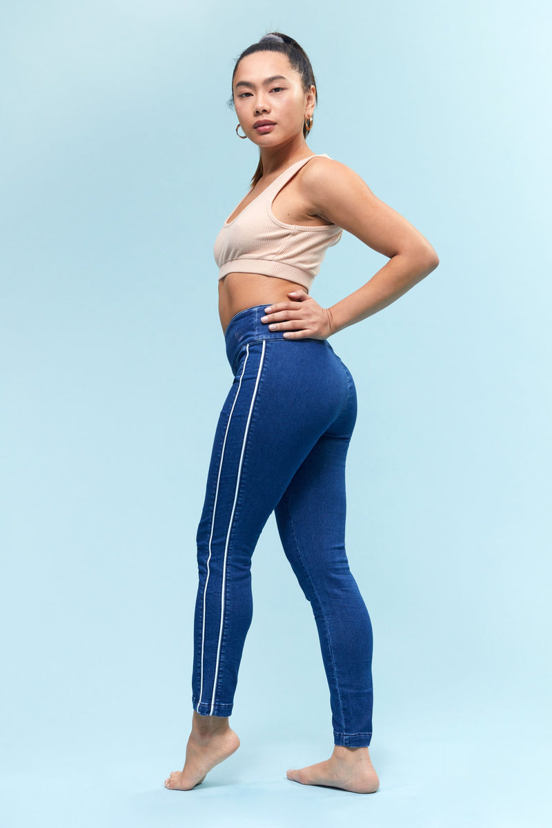 "Short Freedom Knit Denim High Rise Pull On 26"" Legging With Contrast Piping Detail"