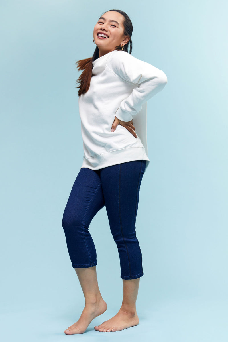 "Short Freedom Knit Denim High Rise Pull On 21"" Capri Legging"