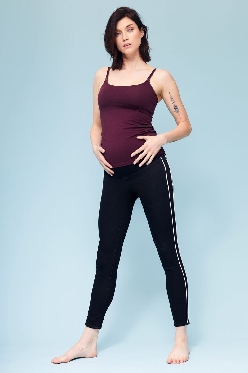 "Freedom Maternity Knit Denim High Rise Pull On 28"" Legging With Contrast Piping Detail In Black"