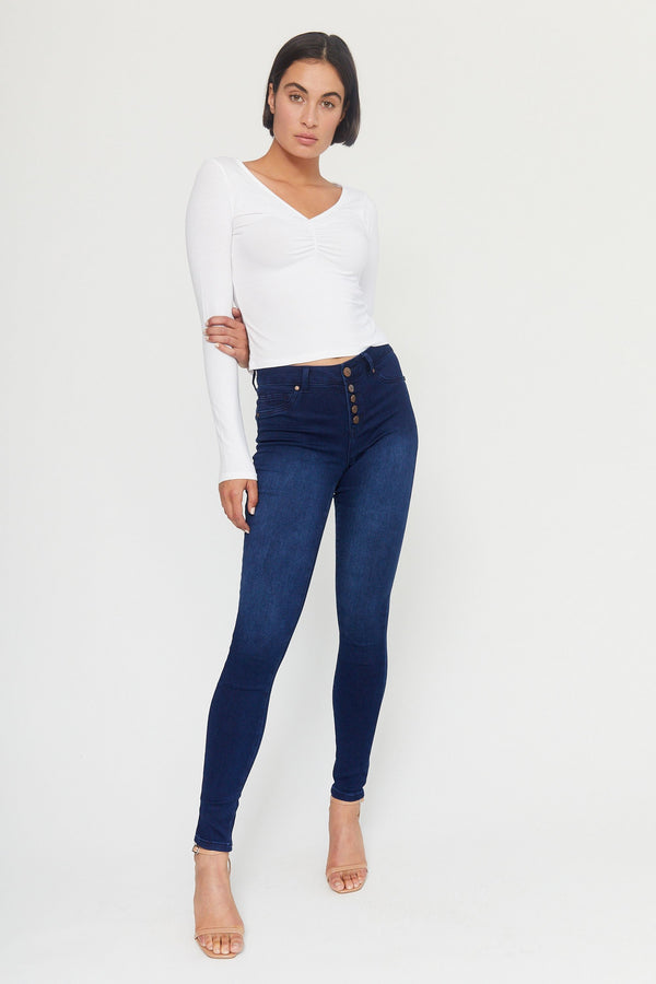 "Butter 32"" Tall Exposed Button Skinny Women's Jegging In Wynter Alicia"