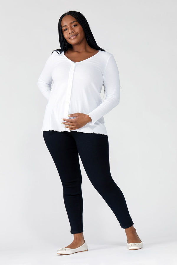 "Maternity Curvy Butter 28"" Ankle Skinny Women's Jegging In Wynter Black"