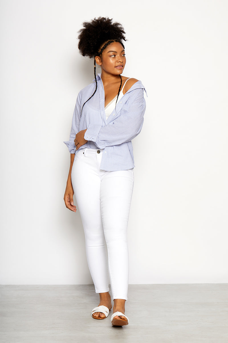 "Curvy Ankle Skinny 28"" Jeans In White"