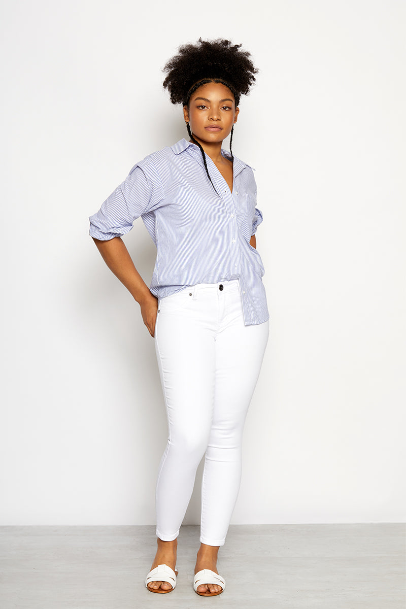 Curvy Butter Ankle Skinny Jeans In Wynter White