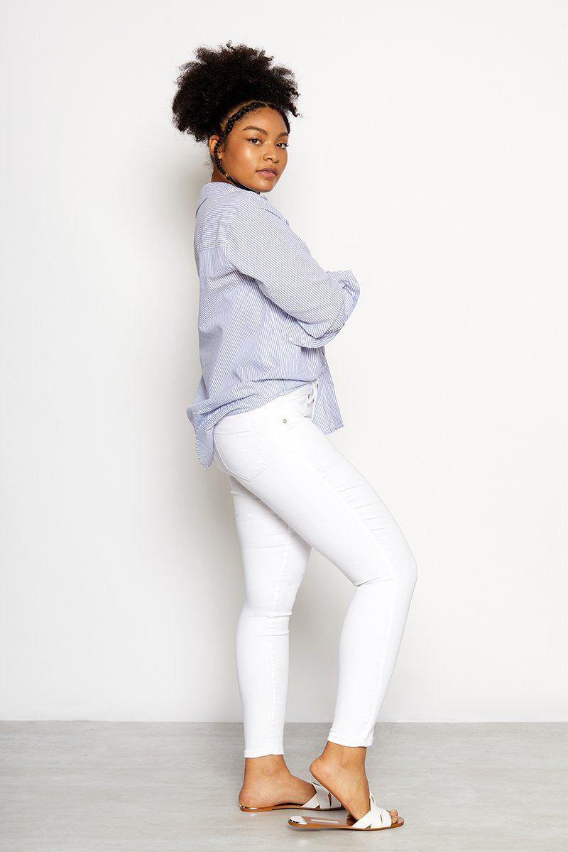 Curvy Ankle Skinny Jeans In White