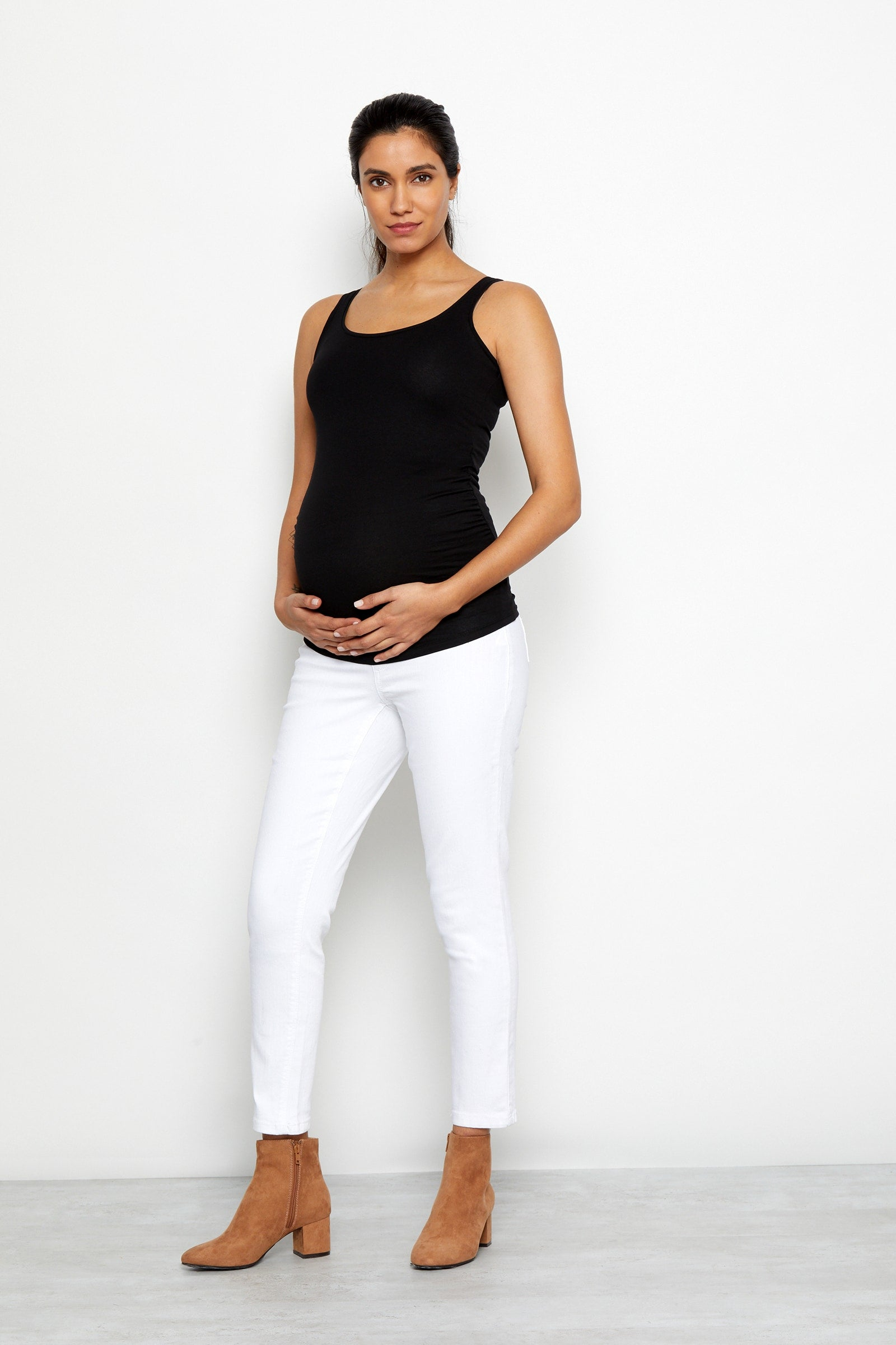 "Maternity Denim 28"" Ankle Skinny Jeans in White"