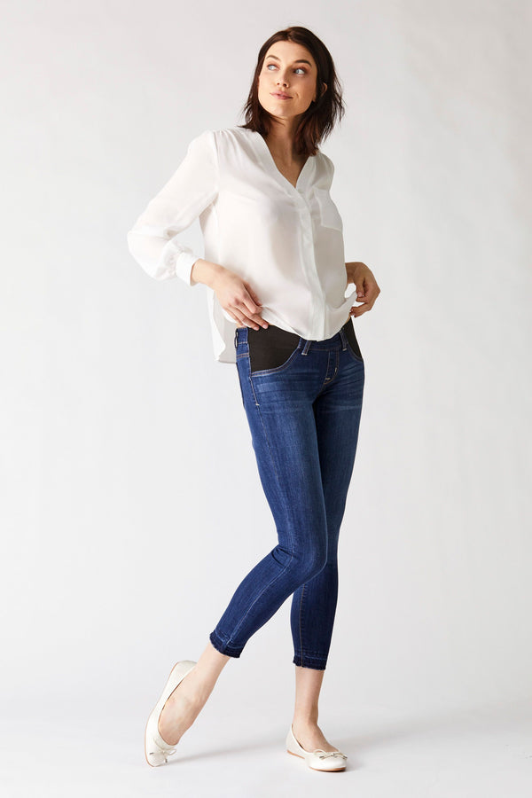 "Maternity Vintage Denim 28"" Ankle Skinny Jean With Release Hem And Side Panels In Crystal"