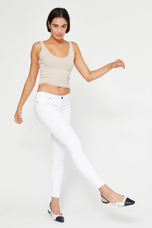 "Butter 32"" Tall Mid Rise Skinny Jeans In Wynter White"
