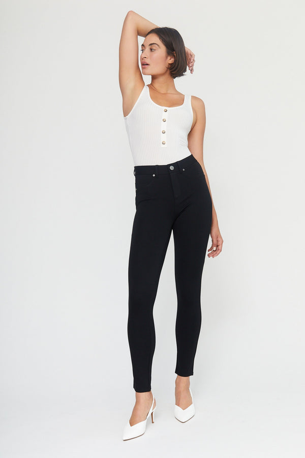 "Ponte Knit 28"" Ankle High Rise Skinny Pants In Black"