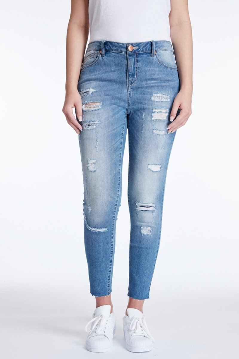 Destructed & Patched Skinny Jeans In Pearl Jam