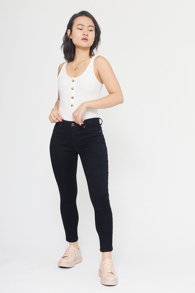 "Petite Butter 26"" Ankle High Rise Skinny Women's Jegging In Wynter Black"