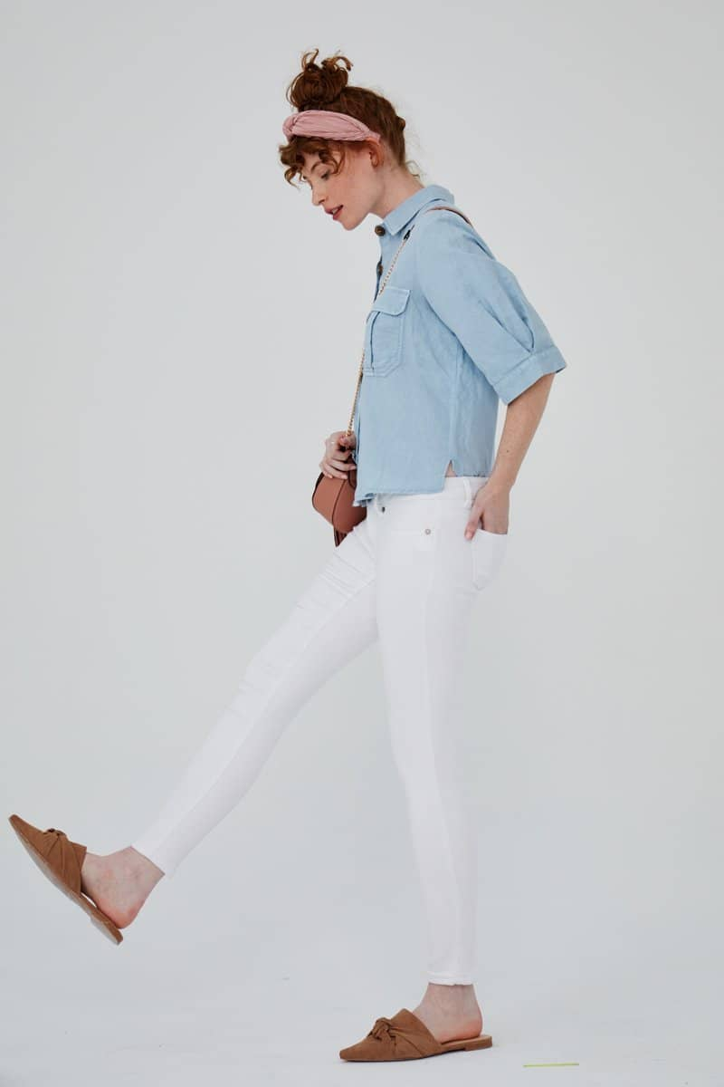 Butter Ankle Skinny Jeans in Wynter White
