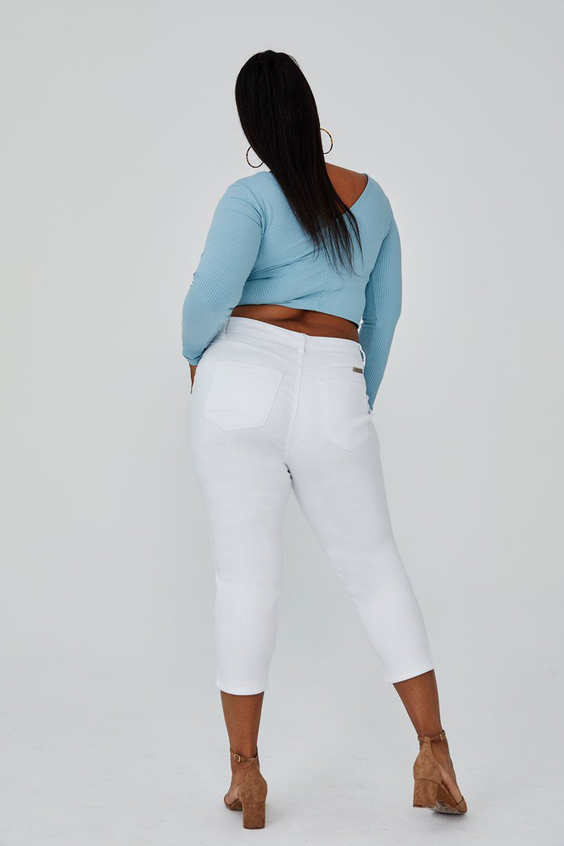 Plus Size Side Slit Crop Skinny Jeans in White