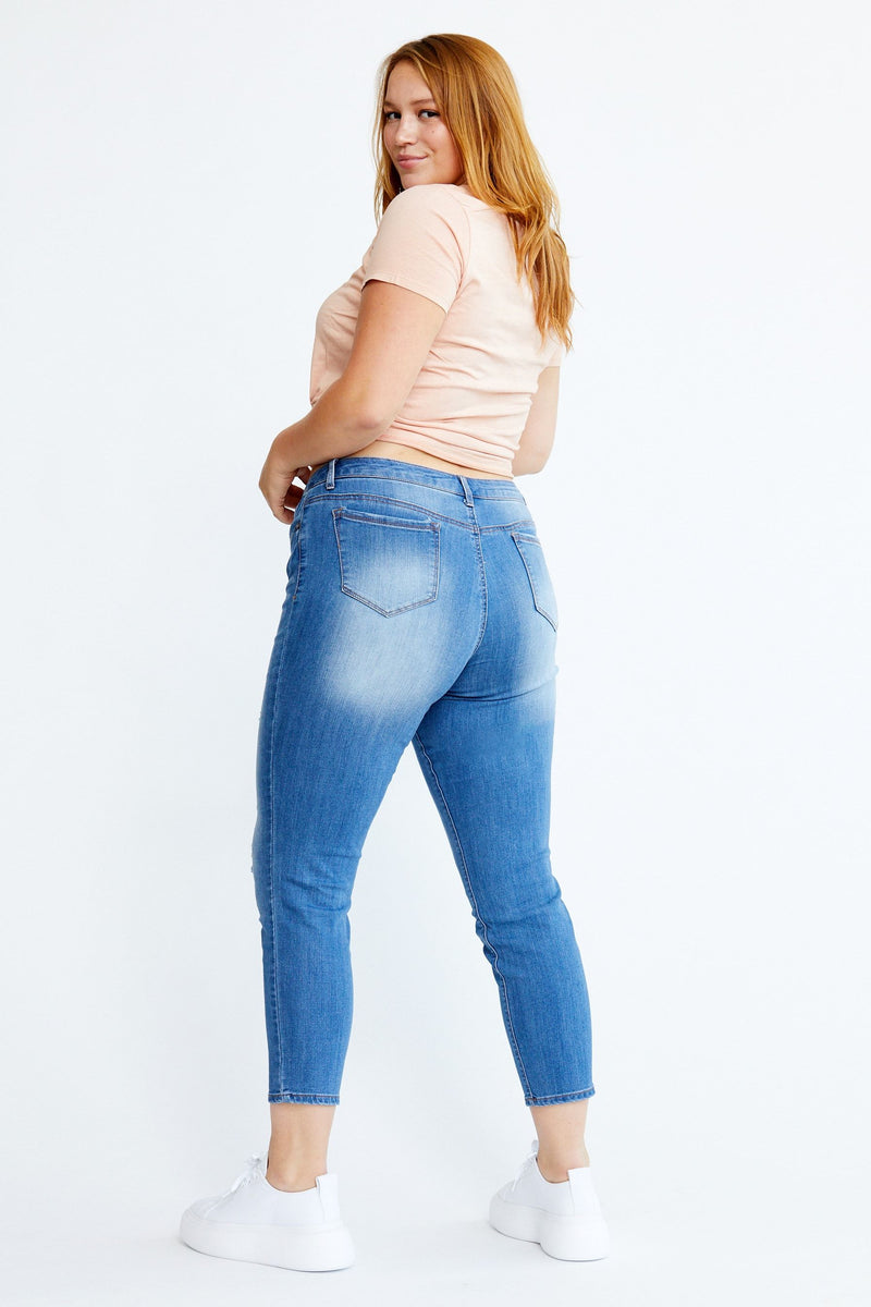 "Curvy Vintage Denim 28"" Destructed Ankle Skinny Jeans In Gary"