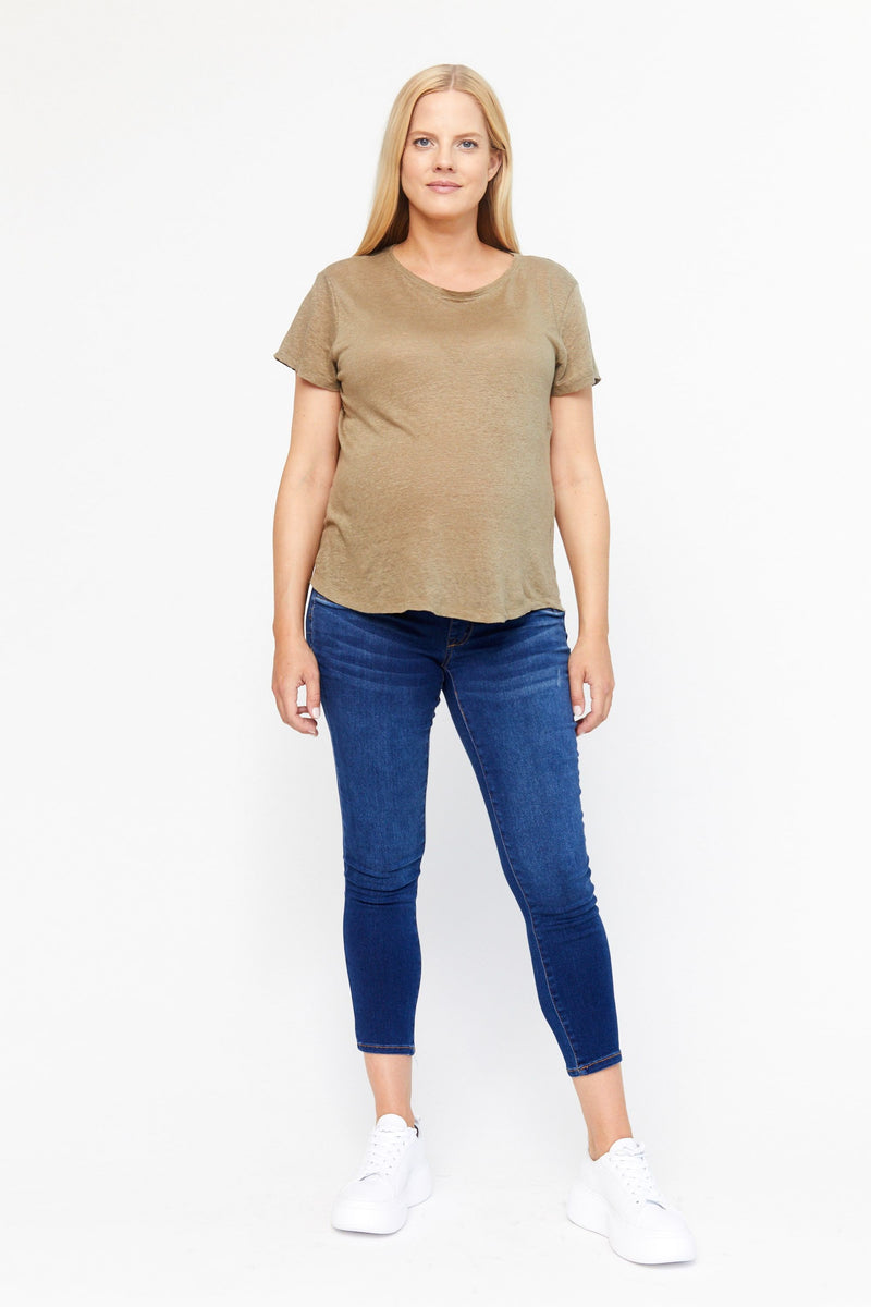 "Maternity Butter 27"" Side Panel Ankle Skinny Jeans in Wynter Lennox"