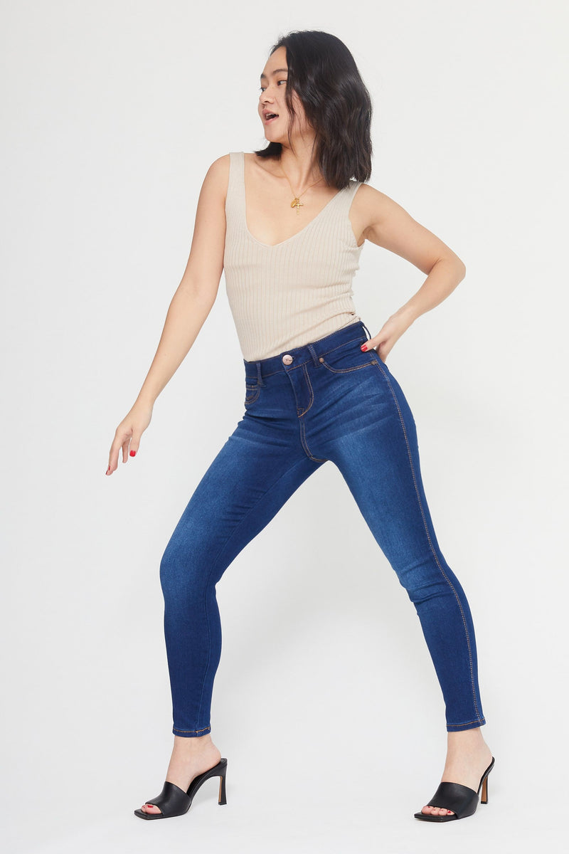 "Petite Butter 26"" Ankle High Rise Skinny Jeans in Wynter Lennox"