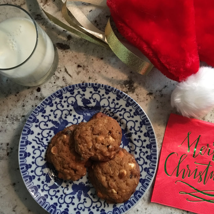 Christmas Cranberry & White Chocolate Oatmeal Cookies