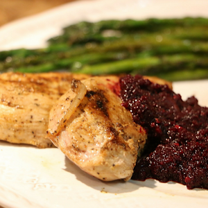 Beet Dressing with Pan-Seared Wild Pheasant