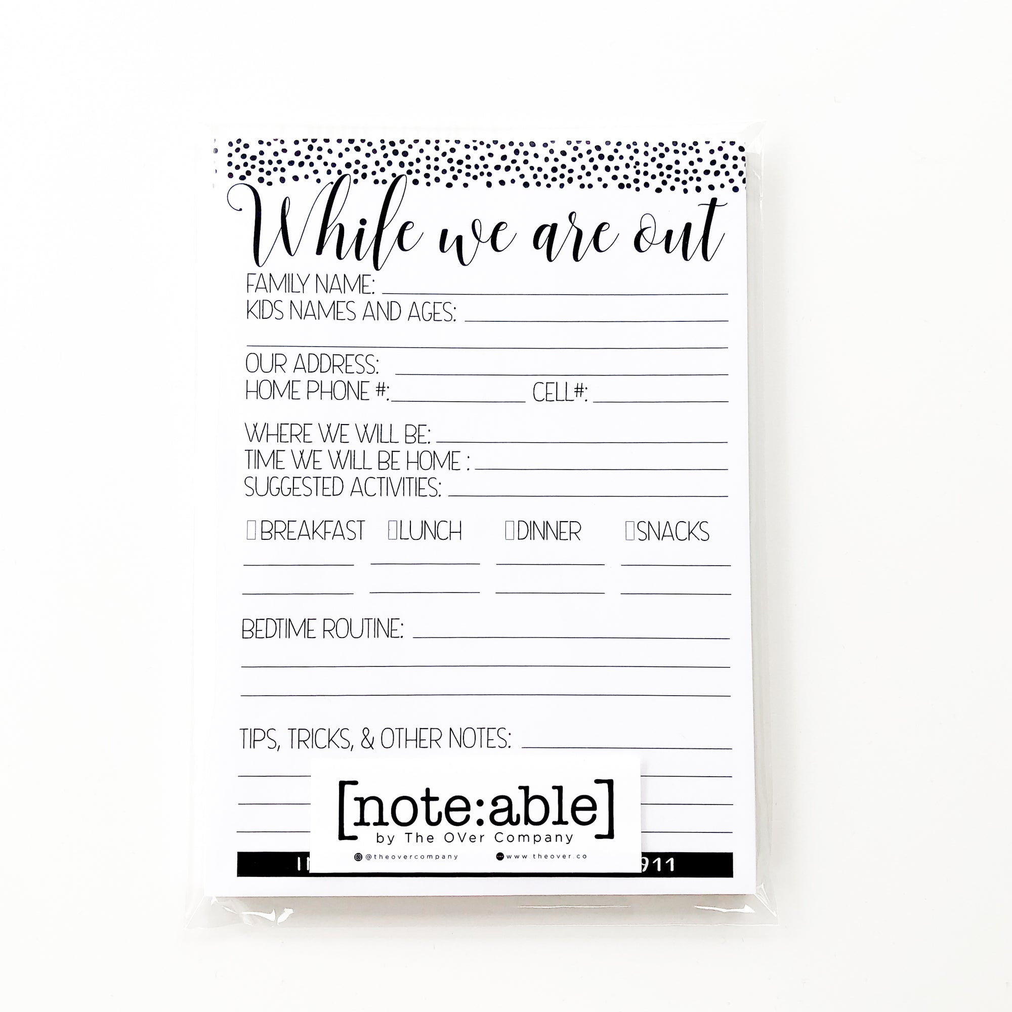 [note:able] - Monochrome Babysitter Note Pads