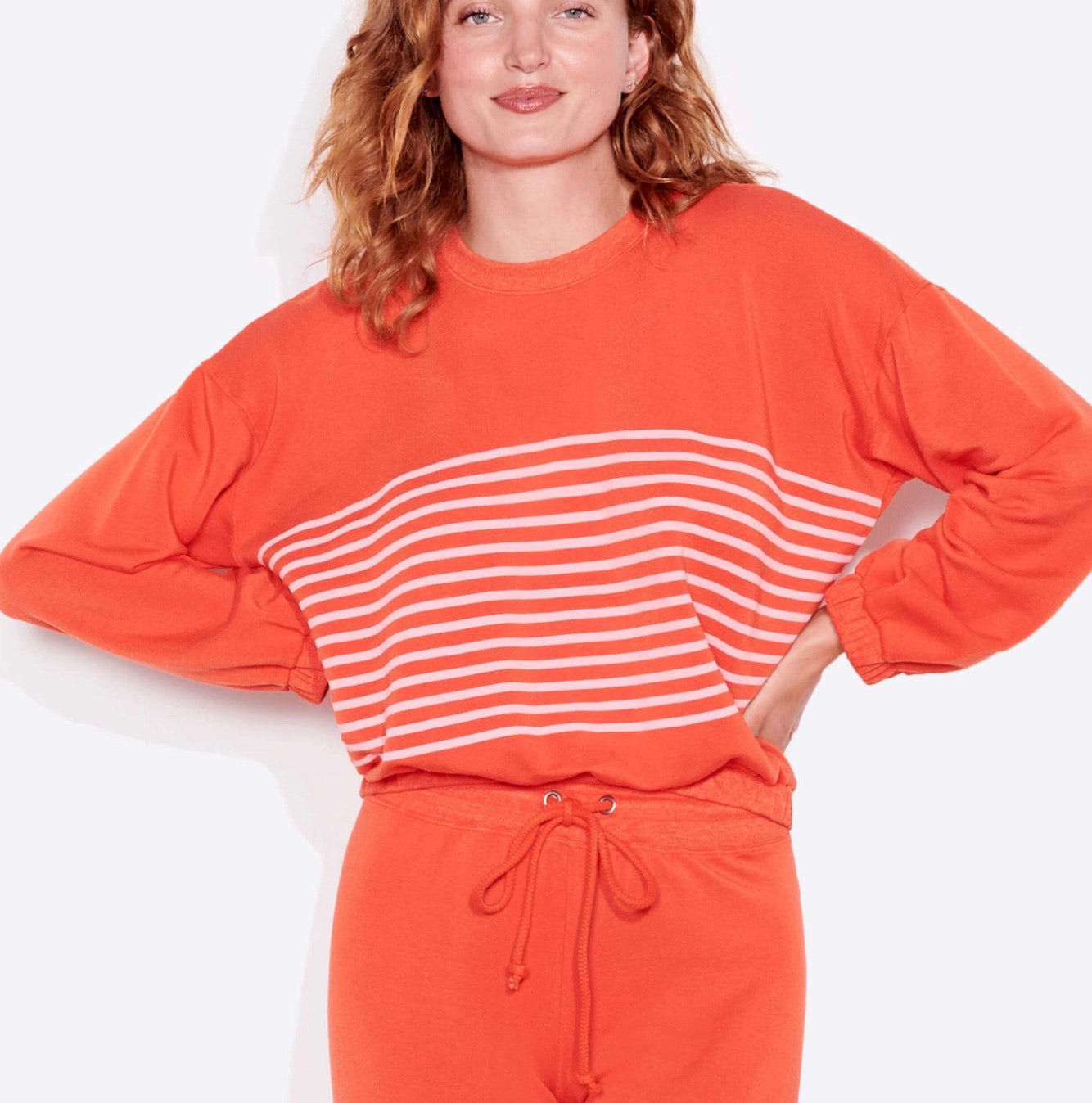 Stripe sweatshirt- chili