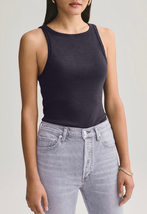 Rib high neck tank - black
