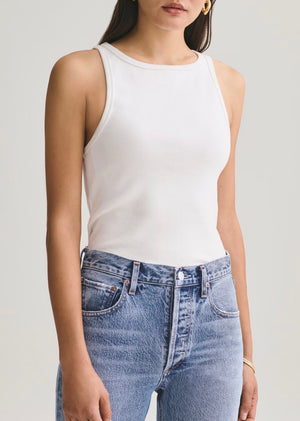 Rib high neck tank- white