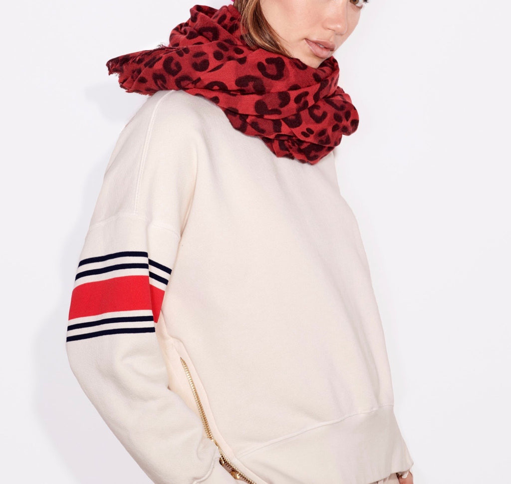 Double zip sweatshirt- bone