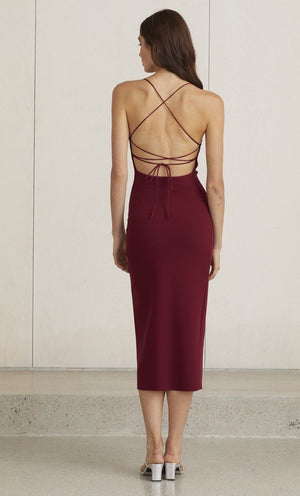 Lea lace up midi - Burgundy