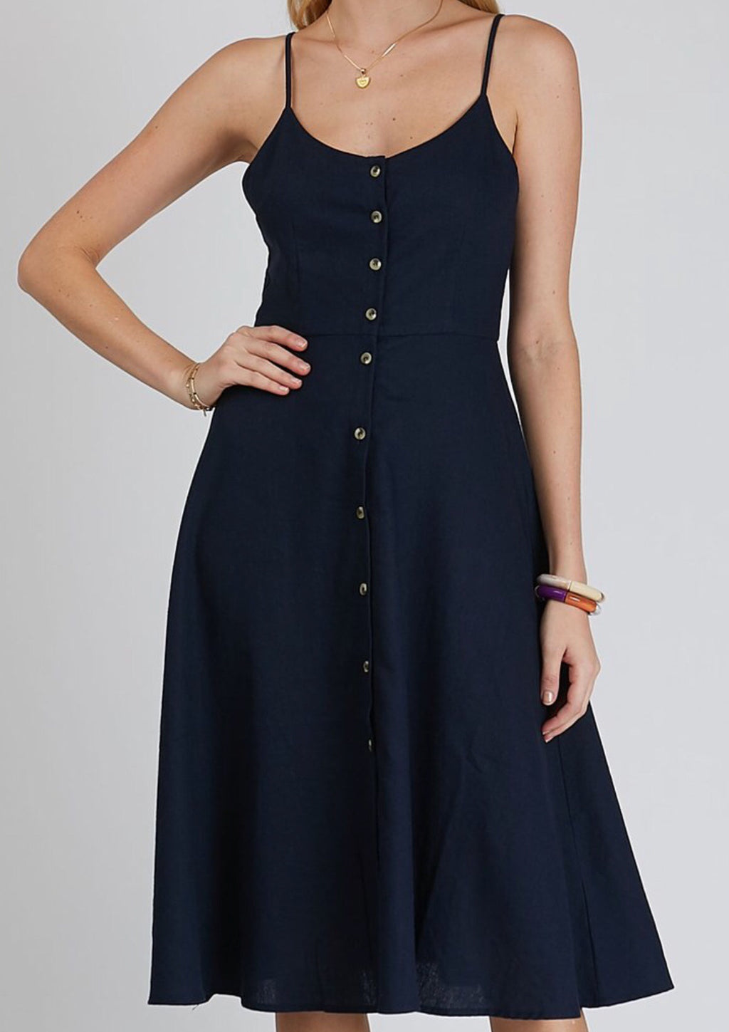 Midsummer linen dress - navy